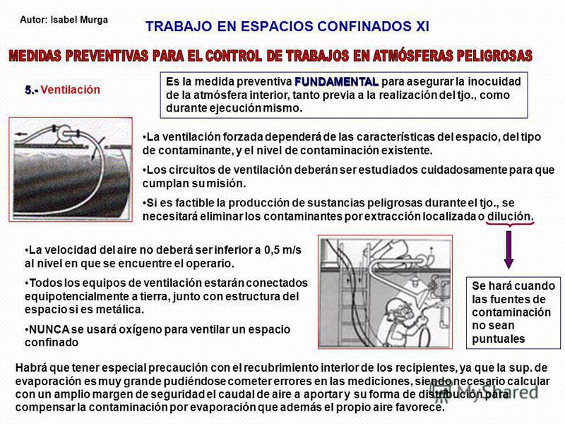 TRABAJO EN ESPACIOS CONFINADOS XI 5.- 5.- Ventilación FUNDAMENTAL Es la medida preventiva FUNDAMENTAL para asegurar la inocuidad de la atmósfera interior, tanto previa a la realización del tjo., como durante ejecución mismo. La ventilación forzada de