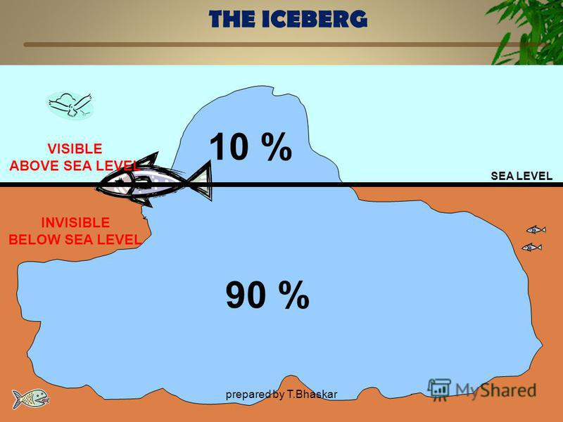 THE ICEBERG SEA LEVEL 10 % 90 % VISIBLE ABOVE SEA LEVEL INVISIBLE BELOW SEA LEVEL prepared by T.Bhaskar