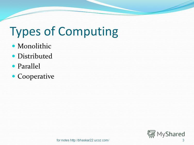 Types of Computing Monolithic Distributed Parallel Cooperative 3for notes http://bhaskar22.ucoz.com/