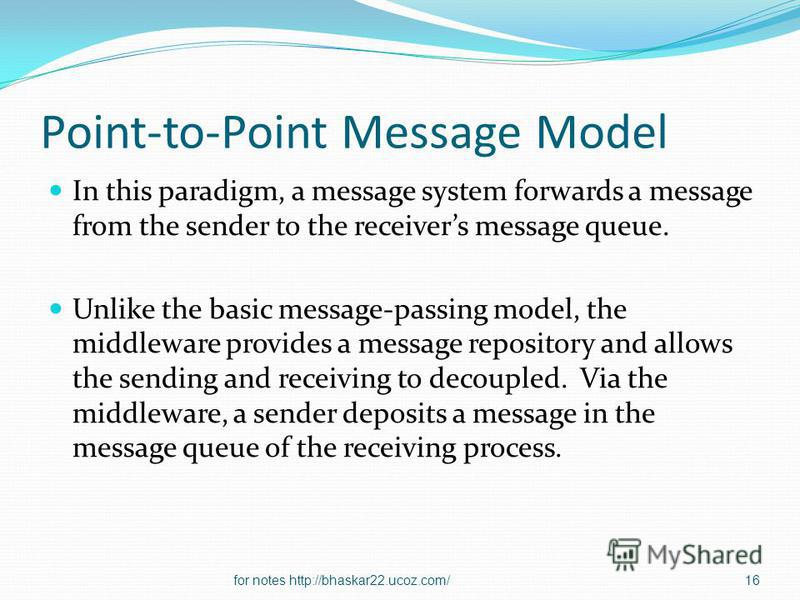 Point-to-Point Message Model In this paradigm, a message system forwards a message from the sender to the receivers message queue. Unlike the basic message-passing model, the middleware provides a message repository and allows the sending and receivi