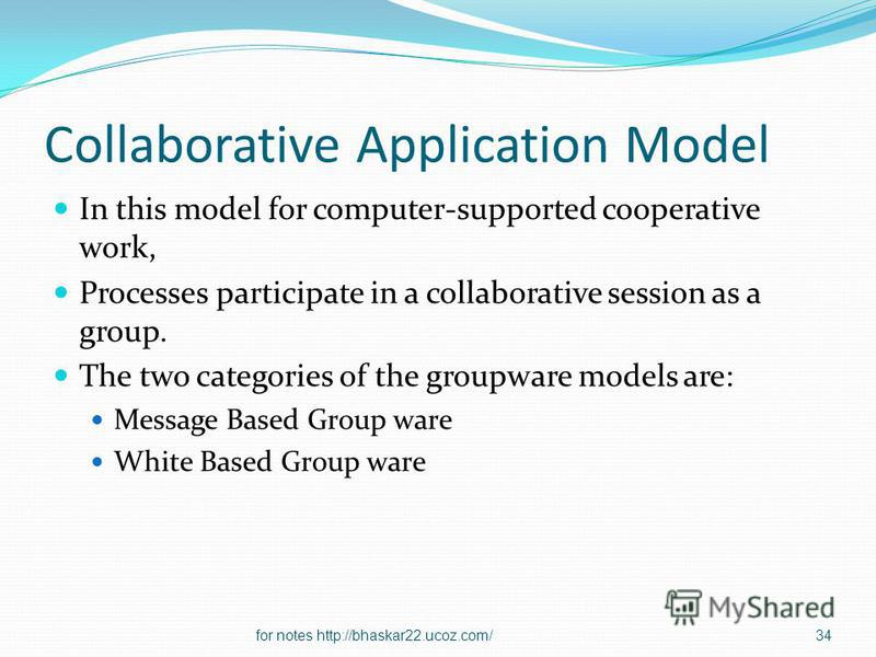 Collaborative Application Model In this model for computer-supported cooperative work, Processes participate in a collaborative session as a group. The two categories of the groupware models are: Message Based Group ware White Based Group ware 34for