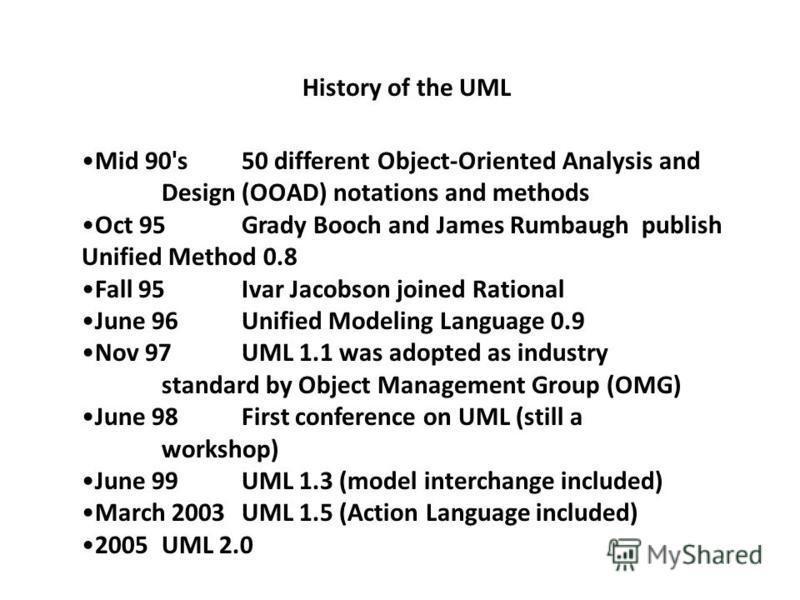 Mid 90's 50 different Object-Oriented Analysis and Design (OOAD) notations and methods Oct 95 Grady Booch and James Rumbaugh publish Unified Method 0.8 Fall 95Ivar Jacobson joined Rational June 96 Unified Modeling Language 0.9 Nov 97 UML 1.1 was adop