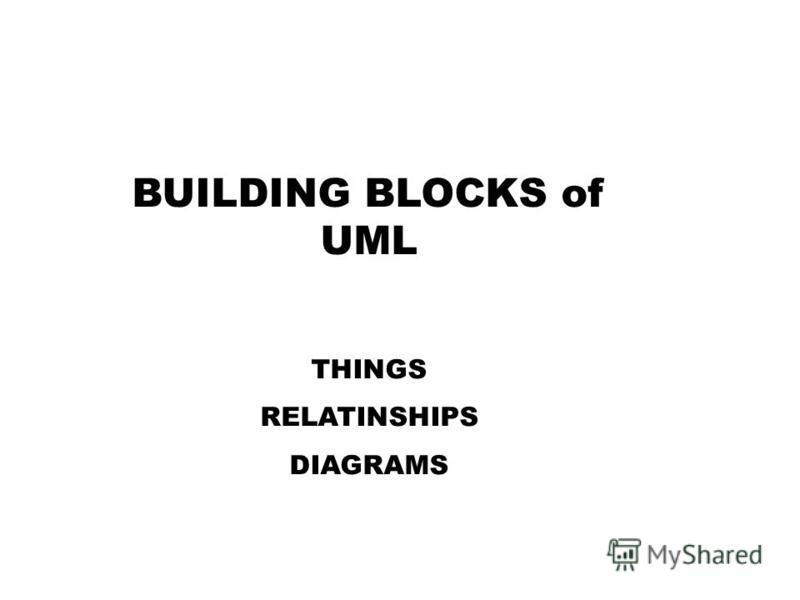 BUILDING BLOCKS of UML THINGS RELATINSHIPS DIAGRAMS