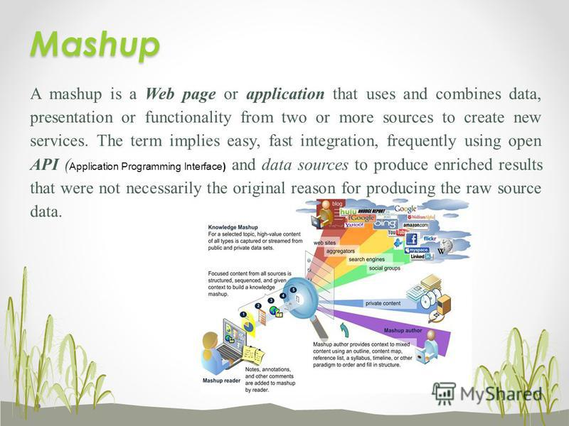 A mashup is a Web page or application that uses and combines data, presentation or functionality from two or more sources to create new services. The term implies easy, fast integration, frequently using open API ( Application Programming Interface)