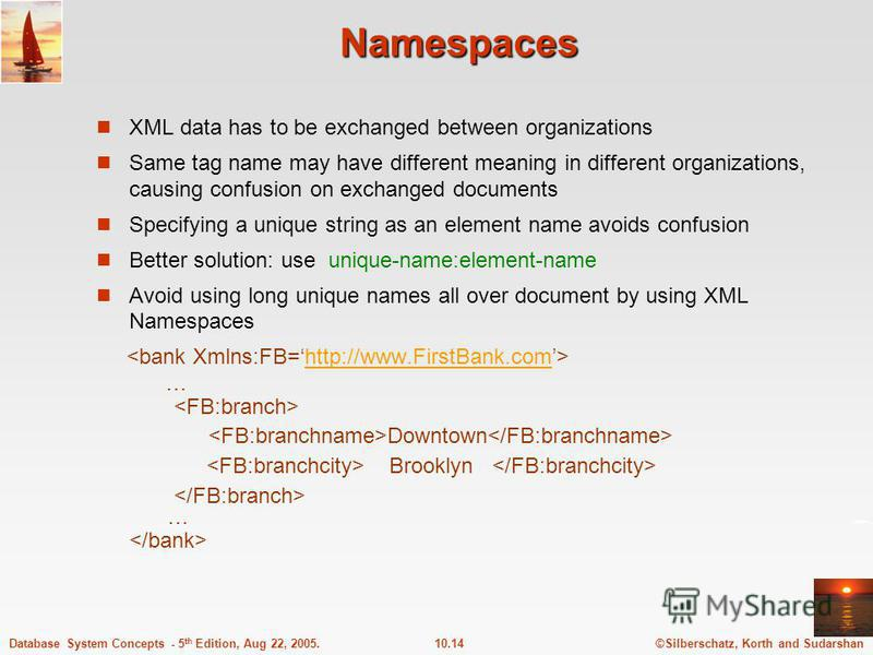 ©Silberschatz, Korth and Sudarshan10.14Database System Concepts - 5 th Edition, Aug 22, 2005. Namespaces XML data has to be exchanged between organizations Same tag name may have different meaning in different organizations, causing confusion on exch