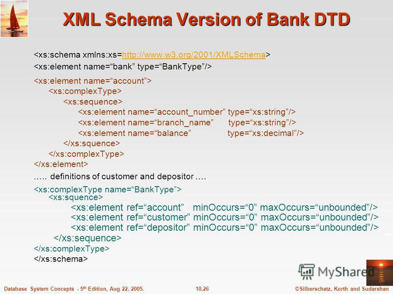 ©Silberschatz, Korth and Sudarshan10.26Database System Concepts - 5 th Edition, Aug 22, 2005. XML Schema Version of Bank DTD http://www.w3.org/2001/XMLSchema ….. definitions of customer and depositor ….