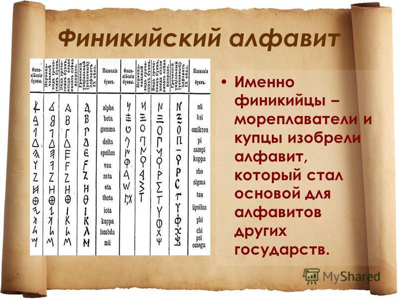 Финикийский алфавит Именно финикийцы – мореплаватели и купцы изобрели алфавит, который стал основой для алфавитов других государств.