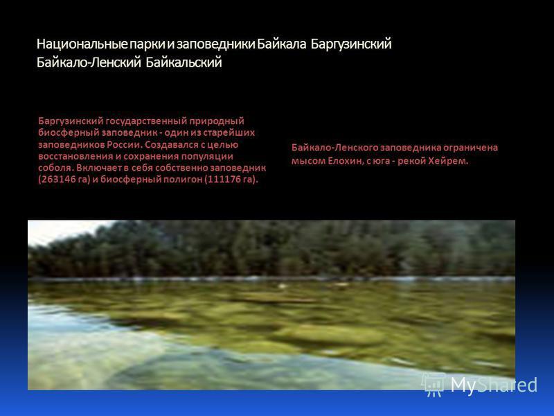 Национальные парки и заповедники Байкала Баргузинский Байкало-Ленский Байкальский Баргузинский государственный природный биосферный заповедник - один из старейших заповедников России. Создавался с целью восстановления и сохранения популяции соболя. В