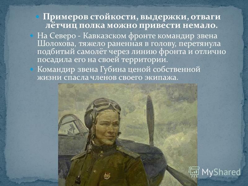 Примеров стойкости, выдержки, отваги лётчиц полка можно привести немало. На Северо - Кавказском фронте командир звена Шолохова, тяжело раненная в голову, перетянула подбитый самолёт через линию фронта и отлично посадила его на своей территории. Коман