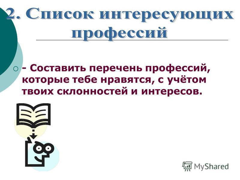 - Составить перечень профессий, которые тебе нравятся, с учётом твоих склонностей и интересов.