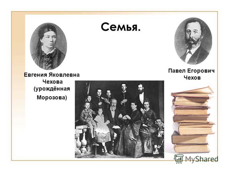 Семья. Павел Егорович Чехов Евгения Яковлевна Чехова (урождённая Морозова)