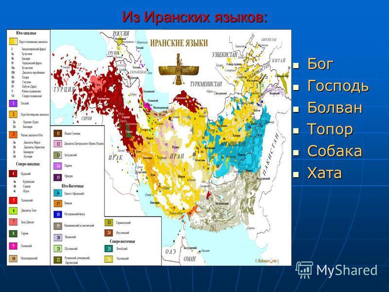 Из Иранских языков: Бог Бог Господь Господь Болван Болван Топор Топор Собака Собака Хата Хата