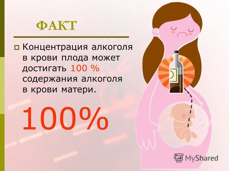 ФАКТ Концентрация алкоголя в крови плода может достигать 100 % содержания алкоголя в крови матери. 100%