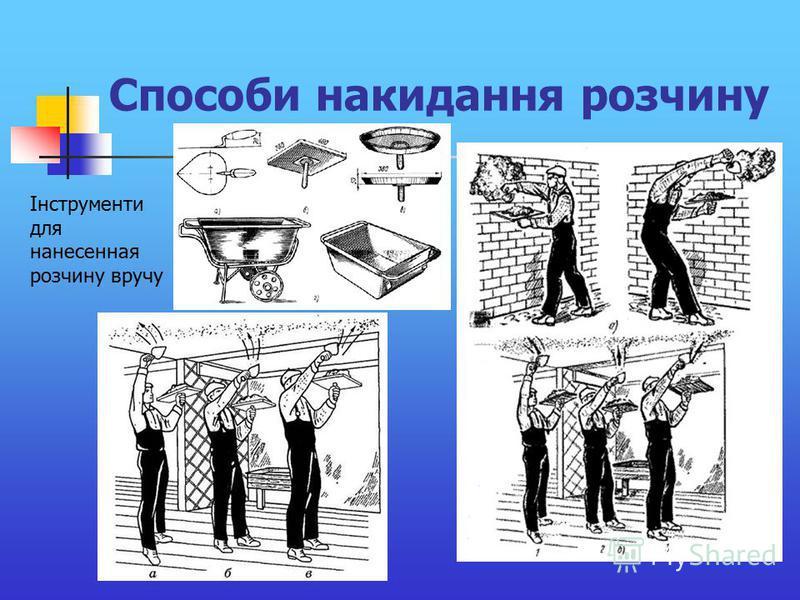 Способи накидання розчину Інструменти для нанесенная розчину вручу