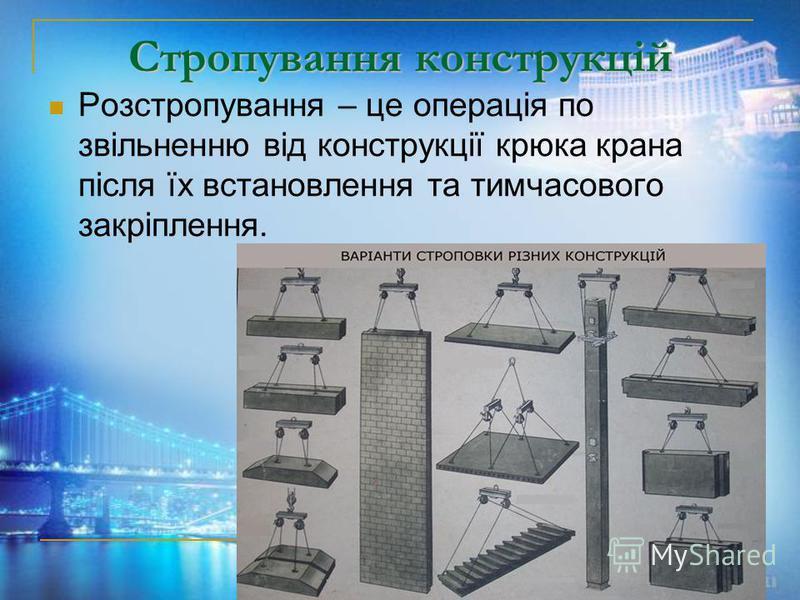 Стропування конструкцій Розстропування – це операція по звільненню від конструкції крюка крана після їх встановлення та тимчасового закріплення.