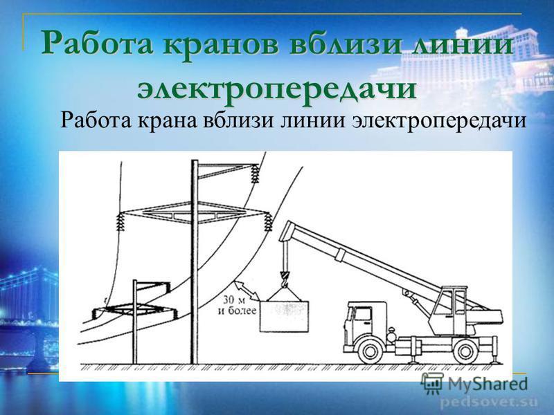 Работа кранов вблизи линии электропередачи Работа крана вблизи линии электропередачи