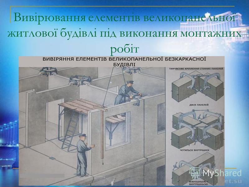 Вивірювання елементів великопанельної житлової будівлі під виконання монтажних робіт