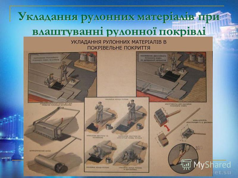 Укладання рулонних матеріалів при влаштуванні рулонної покрівлі