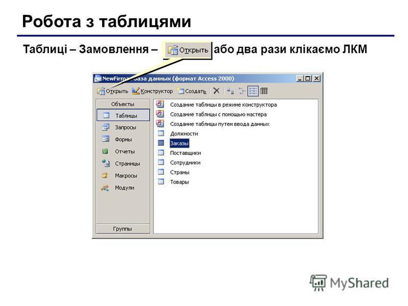 Робота з таблицями Таблиці – Замовлення – або два рази клікаємо ЛКМ