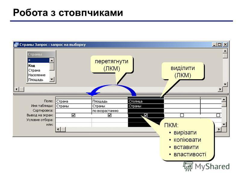 Робота з стовпчиками виділити (ЛКМ) ПКМ: вирізати копіювати вставити властивості ПКМ: вирізати копіювати вставити властивості перетягнути (ЛКМ)