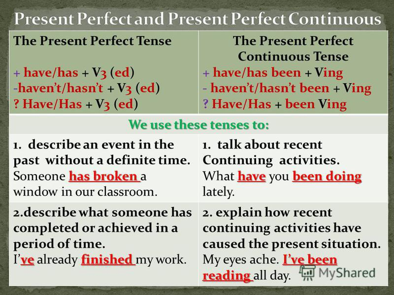 The Present Perfect Tense + have/has + V3 (ed) -havent/hasnt + V3 (ed) ? Have/Has + V3 (ed) The Present Perfect Continuous Tense + have/has been + Ving - havent/hasnt been + Ving ? Have/Has + been Ving We use these tenses to: 1.describe an event in t