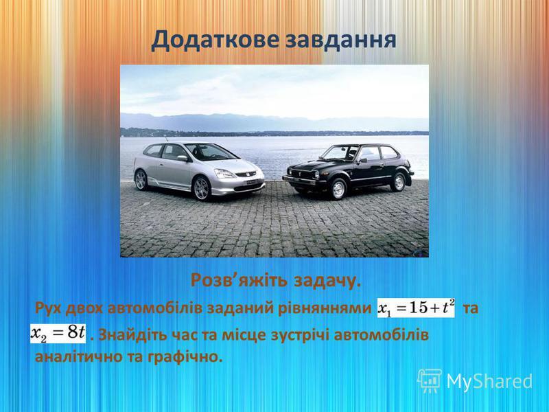 Додаткове завдання Розвяжіть задачу. Рух двох автомобілів заданий рівняннями x1 = 15+t2 та x2 = 8t. Знайдіть час та місце зустрічі автомобілів аналітично та графічно.