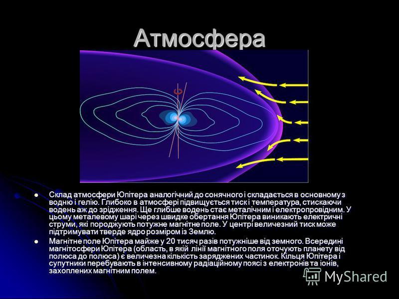 Атмосфера Склад атмосфери Юпітера аналогічний до сонячного і складається в основному з водню і гелію. Глибоко в атмосфері підвищується тиск і температура, стискаючи водень аж до зрідження. Ще глибше водень стає металічним і електропровідним. У цьому