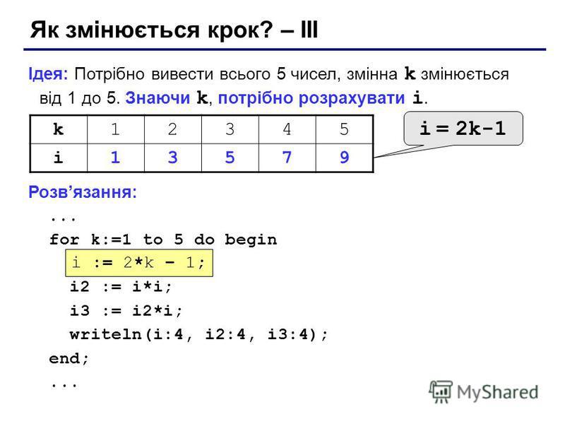 Як змінюється крок? – III Ідея: Потрібно вивести всього 5 чисел, змінна k змінюється від 1 до 5. Знаючи k, потрібно розрахувати i. Розвязання:... for k:=1 to 5 do begin ??? i2 := i*i; i3 := i2*i; writeln(i:4, i2:4, i3:4); end;... i := 2*k – 1; k12345