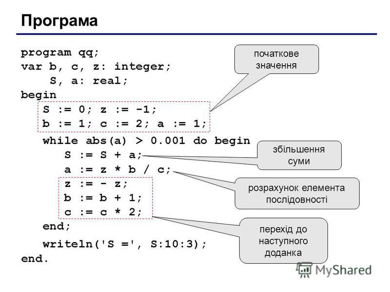 Програма program qq; var b, c, z: integer; S, a: real; begin S := 0; z := -1; b := 1; c := 2; a := 1; while abs(a) > 0.001 do begin S := S + a; a := z * b / c; z := - z; b := b + 1; c := c * 2; end; writeln('S =', S:10:3); end. перехід до наступного