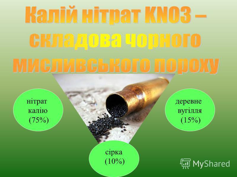 нітрат калію (75%) сірка (10%) деревне вугілля (15%)