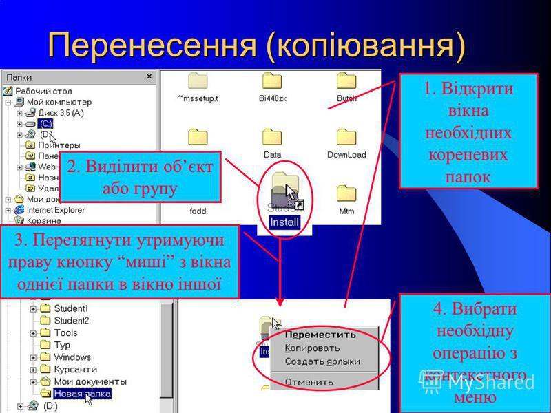 Перенесення (копіювання) 3. Перетягнути утримуючи праву кнопку миші з вікна однієї папки в вікно іншої 2. Виділити обєкт або групу 4. Вибрати необхідну операцію з контекстного меню 1. Відкрити вікна необхідних кореневих папок