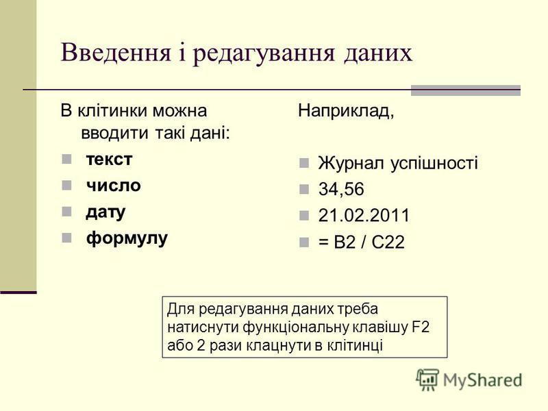 Введення і редагування даних В клітинки можна вводити такі дані: текст число дату формулу Наприклад, Журнал успішності 34,56 21.02.2011 = В2 / С22 Для редагування даних треба натиснути функціональну клавішу F2 або 2 рази клацнути в клітинці