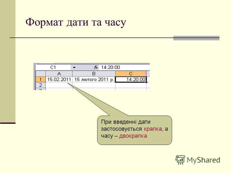 Формат дати та часу При введенні дати застосовується крапка, а часу – двокрапка