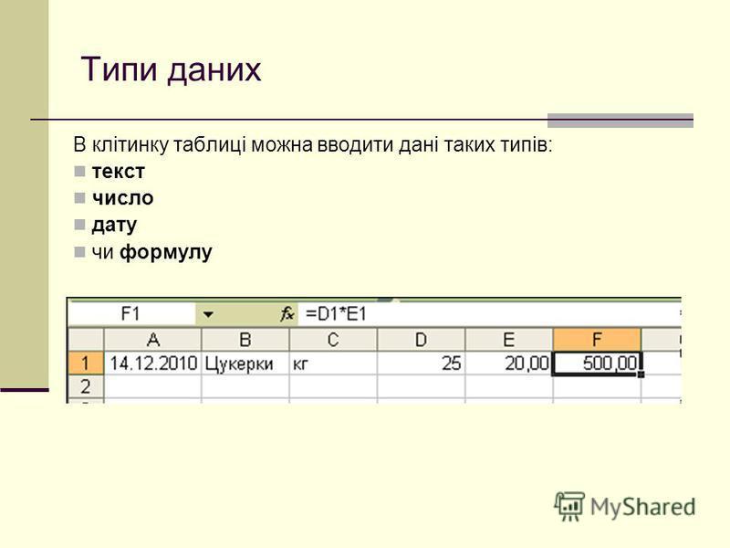 Типи даних В клітинку таблиці можна вводити дані таких типів: текст число дату чи формулу