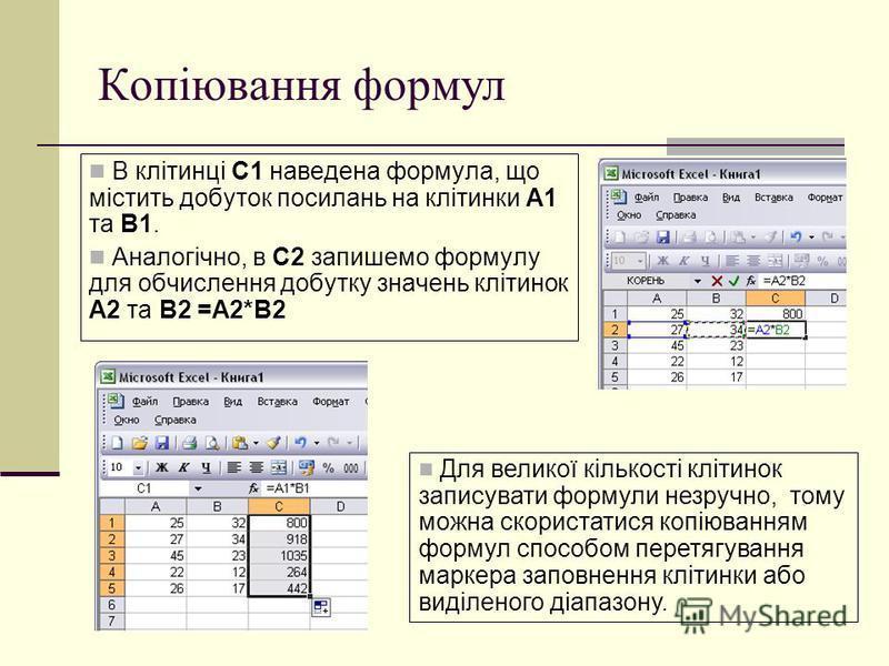 Копіювання формул В клітинці С1 наведена формула, що містить добуток посилань на клітинки A1 та B1. Аналогічно, в C2 запишемо формулу для обчислення добутку значень клітинок A2 та B2 =A2*B2 Для великої кількості клітинок записувати формули незручно,