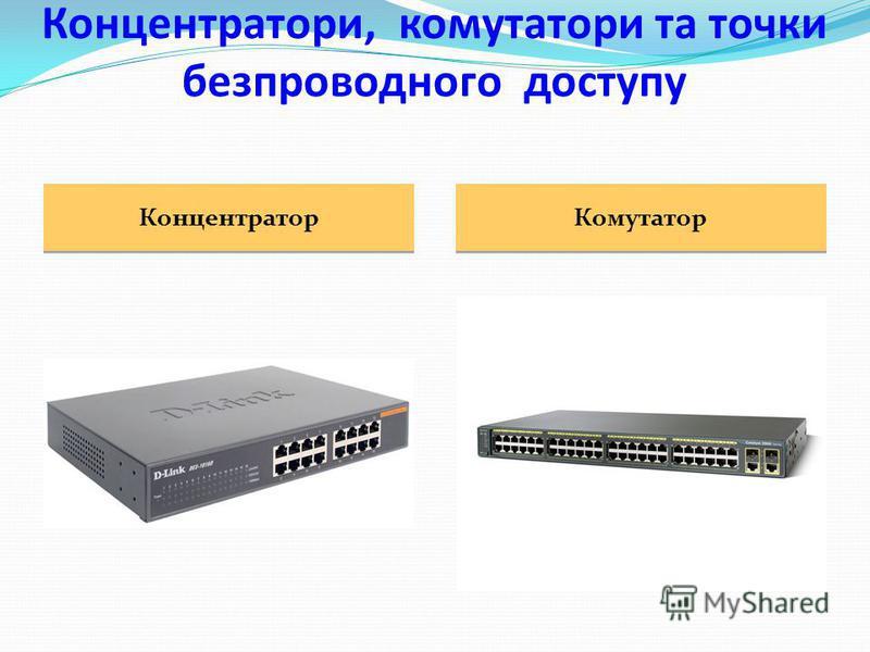 концентратори комутатори Для реалізації мережної топології зірка потрібний пристрій, до якого підключатимуться всі комп'ютери мережі та який забезпечуватиме обмін даними між ними. Функцію таких центральних пристроїв можуть виконувати концентратори та