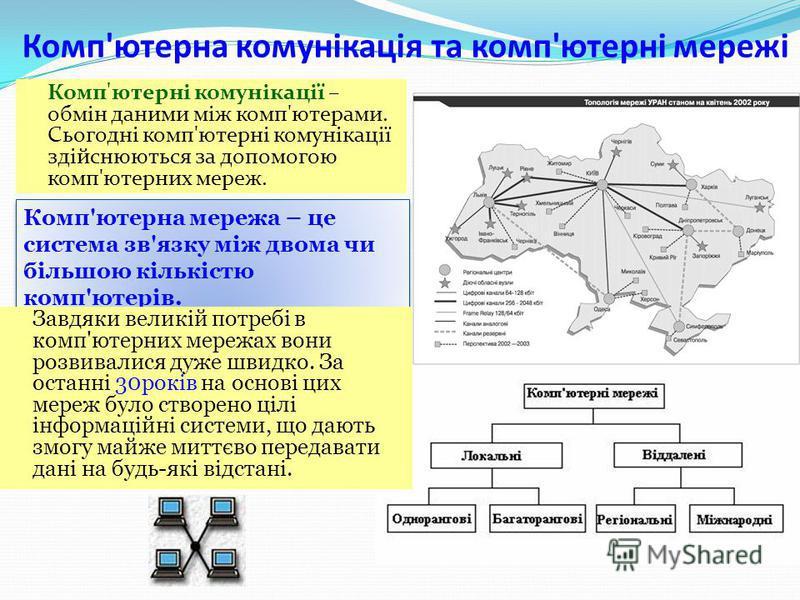 Що ми дізнаємося? 1.Що таке компютерна мережа і для чого вона призначена? 2.Які існують види компютерних мереж і яка між ними відмінність? 3.Яке апаратне та програмне забезпечення потрібно для роботи в компютерних мережах? 4.Що таке топологія мережі