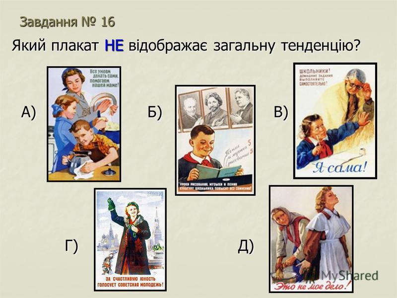 Завдання 16 Який плакат НЕ відображає загальну тенденцію? А) Б) В) А) Б) В) Г) Д) Г) Д)