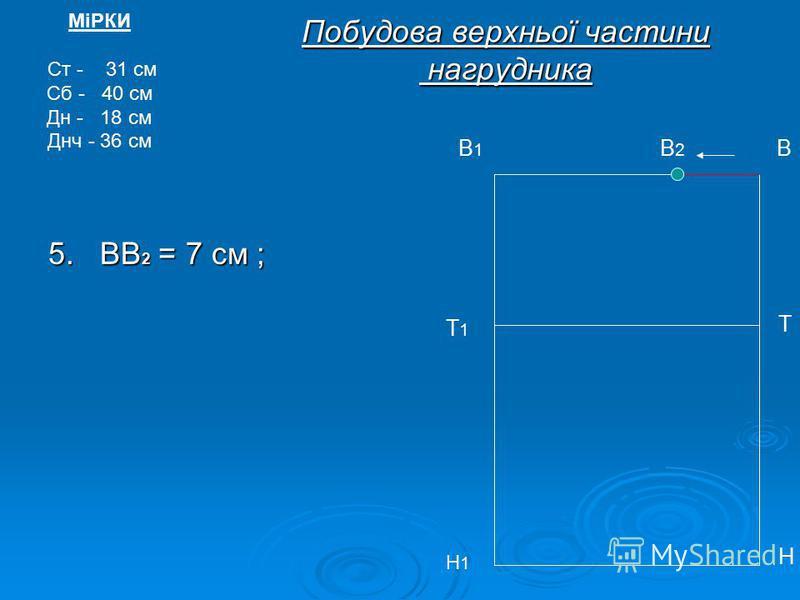 Побудова верхньої частини нагрудника 5. ВВ 2 = 7 см ; МіРКИ Ст - 31 см Сб - 40 см Дн - 18 см Днч - 36 см В2В2 В Т Т1Т1 Н Н1Н1 В1В1