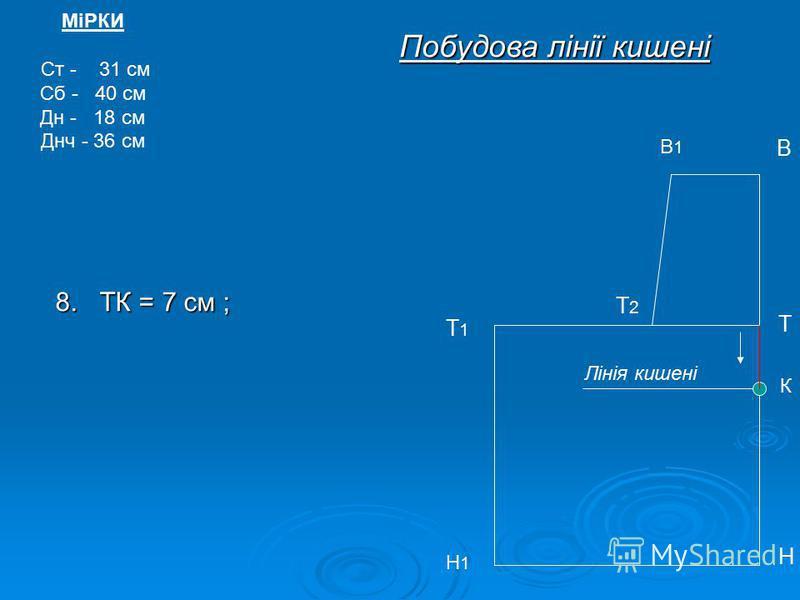 МіРКИ Ст - 31 см Сб - 40 см Дн - 18 см Днч - 36 см В1В1 В Т Т1Т1 Н Н1Н1 Побудова лінії кишені Т2Т2 8. ТК = 7 см ; К Лінія кишені