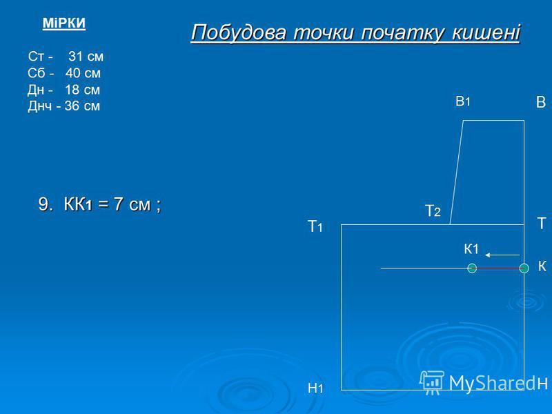 МіРКИ Ст - 31 см Сб - 40 см Дн - 18 см Днч - 36 см В1В1 В Т Т1Т1 Н Н1Н1 Побудова точки початку кишені Т2Т2 К К1 9. КК 1 = 7 см ;