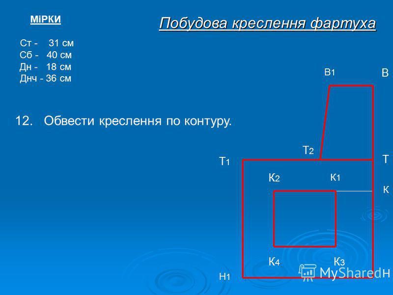 МіРКИ Ст - 31 см Сб - 40 см Дн - 18 см Днч - 36 см В1В1 В Т Т1Т1 Н Н1Н1 Побудова креслення фартуха Т2Т2 К К1К1 К2К2 К3К3 К4К4 12. Обвести креслення по контуру.