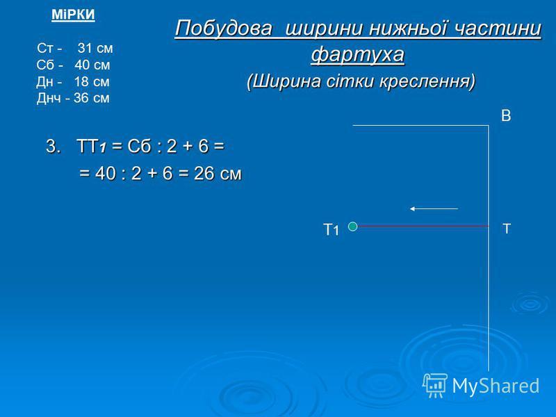 Побудова ширини нижньої частини фартуха (Ширина сітки креслення) 3. ТТ1 = Сб : 2 + 6 = = 40 : 2 + 6 = 26 см МіРКИ Ст - 31 см Сб - 40 см Дн - 18 см Днч - 36 см Т В Т1Т1