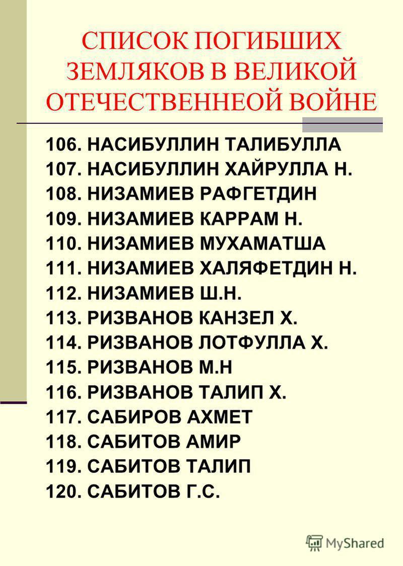 CПИСОК ПОГИБШИХ ЗЕМЛЯКОВ В ВЕЛИКОЙ ОТЕЧЕСТВЕННЕОЙ ВОЙНЕ 106. НАСИБУЛЛИН ТАЛИБУЛЛА 107. НАСИБУЛЛИН ХАЙРУЛЛА Н. 108. НИЗАМИЕВ РАФГЕТДИН 109. НИЗАМИЕВ КАРРАМ Н. 110. НИЗАМИЕВ МУХАМАТША 111. НИЗАМИЕВ ХАЛЯФЕТДИН Н. 112. НИЗАМИЕВ Ш.Н. 113. РИЗВАНОВ КАНЗЕЛ