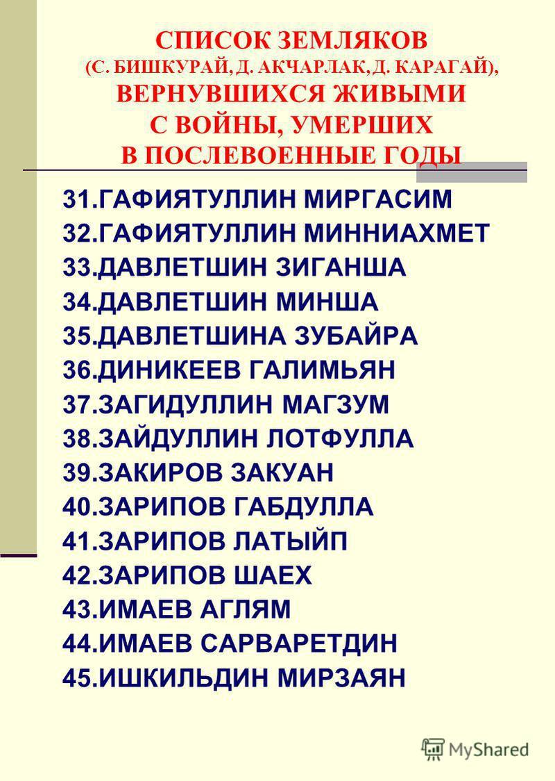 CПИСОК ЗЕМЛЯКОВ (С. БИШКУРАЙ, Д. АКЧАРЛАК, Д. КАРАГАЙ), ВЕРНУВШИХСЯ ЖИВЫМИ С ВОЙНЫ, УМЕРШИХ В ПОСЛЕВОЕННЫЕ ГОДЫ 31. ГАФИЯТУЛЛИН МИРГАСИМ 32. ГАФИЯТУЛЛИН МИННИАХМЕТ 33. ДАВЛЕТШИН ЗИГАНША 34. ДАВЛЕТШИН МИНША 35. ДАВЛЕТШИНА ЗУБАЙРА 36. ДИНИКЕЕВ ГАЛИМЬЯН