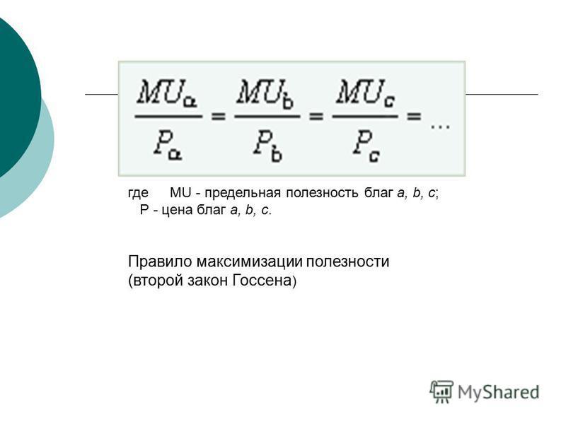 где MU - предельная полезность благ a, b, c; Р - цена благ a, b, c. Правило максимизации полезности (второй закон Госсена )