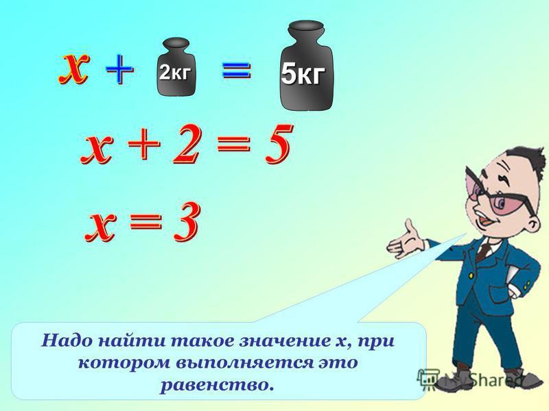 2 кг 5 кг Надо найти такое значение х, при котором выполняется это равенство.