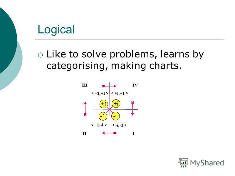 Logical Like to solve problems, learns by categorising, making charts.