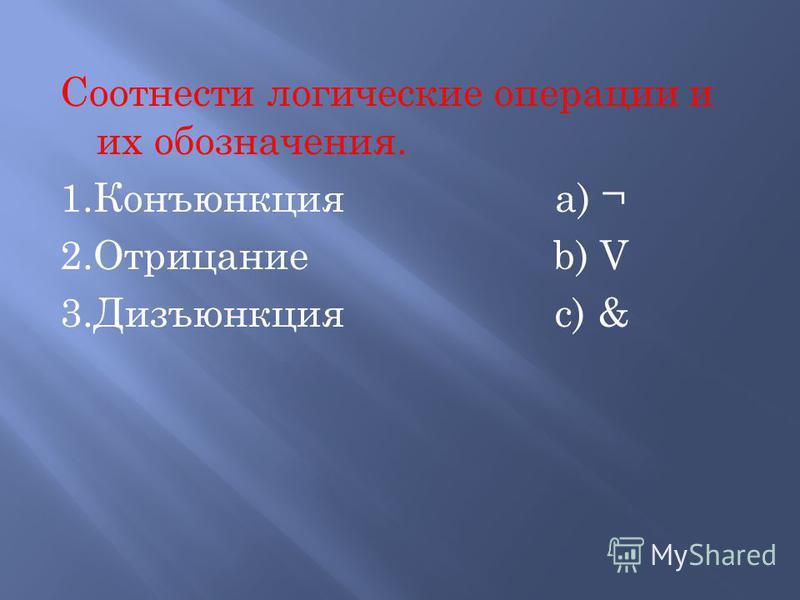 Соотнести логические операции и их обозначения. 1. Конъюнкция a) ¬ 2. Отрицание b) V 3. Дизъюнкция c) &