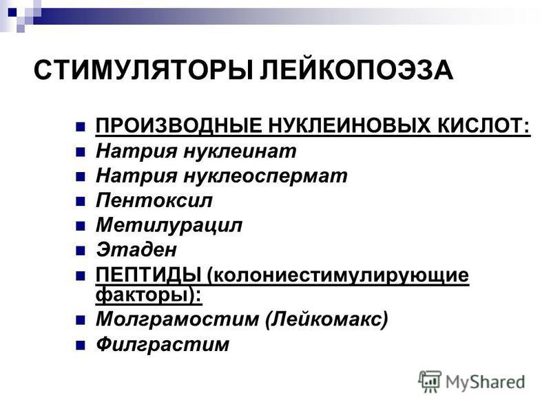 СТИМУЛЯТОРЫ ЛЕЙКОПОЭЗА ПРОИЗВОДНЫЕ НУКЛЕИНОВЫХ КИСЛОТ: Натрия нуклеинат Натрия нуклеоспермат Пентоксил Метилурацил Этаден ПЕПТИДЫ (колониестимулирующие факторы): Молграмостим (Лейкомакс) Филграстим